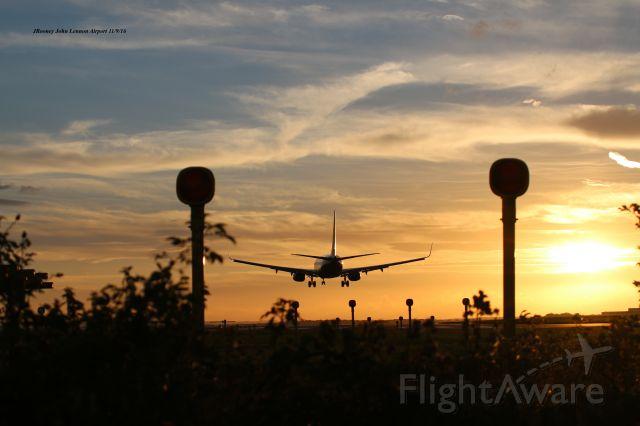 Boeing 737-800 — - Late summer landing John Lennon Airport 2016