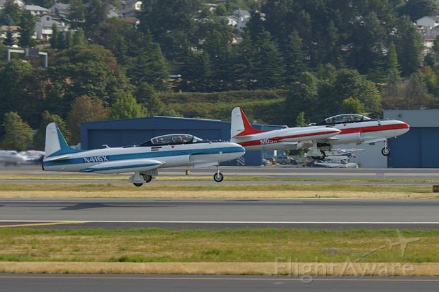 Lockheed T-33 Shooting Star (N416X) - Lockheed T-33 chase planes seen taking off from KBFI. Aircraft would later fly in formation with a Korean Air 777-300ER to perform flyovers at a nearby golf tournament.
