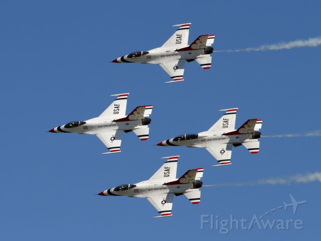 Lockheed F-16 Fighting Falcon — - Thunderbird Diamond pass in review:<br />#1 Lt. Col. John Caldwell - Commander/Leader<br />#2 Maj. Will Graeff - Left Wing<br />#3 Capt. Michael Brewer - Right Wing<br />#4 Maj. Whit Collins - Slot<br /><br />Thunder Over Solano - 03/30/2019