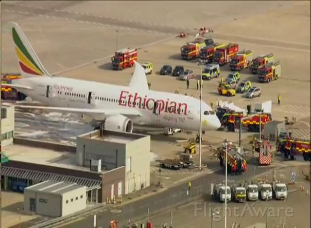 Boeing 787-8 (ET-AOP) - emergency at LHR Ethiopian airlines Boeing 787 ET-AOP caught fire today - 12/7/2013