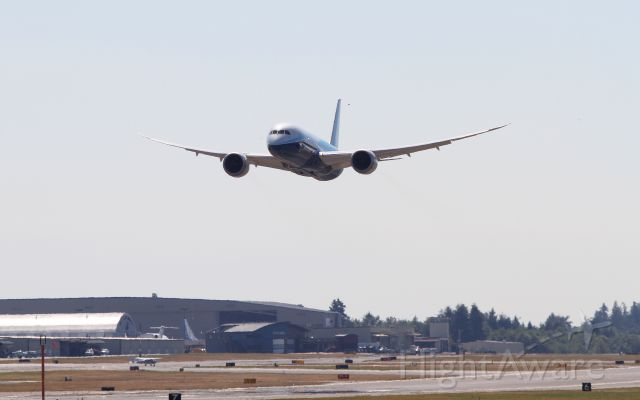 Boeing 787-8 (N787BA) - 787 celebrating certification with a fly by at Paine Field.