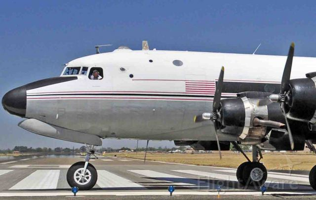Douglas C-54 Skymaster (N460WA) - Sam making sure that he gets the maximum length of runway for takeoff at Merced Regional Airport (KMCE)