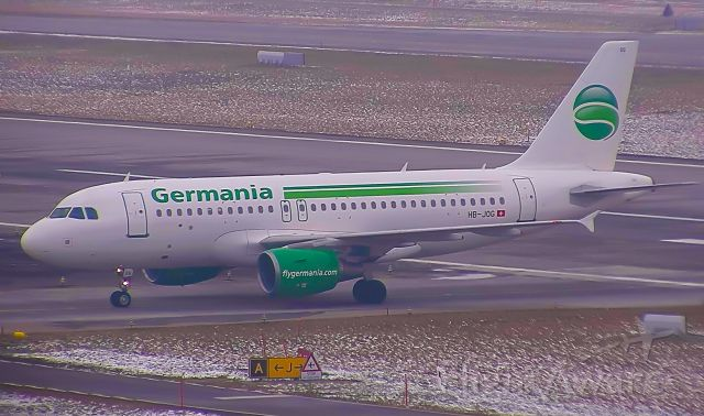 Airbus A319 (HB-JOG) - GSW6043 taxing after arrival from Pristina. This is the last flight made by this aircraft while operating for Germania Flug.