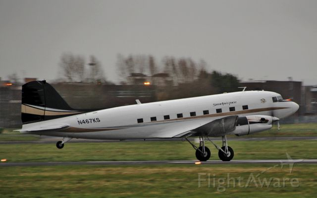 Douglas DC-3 (turbine) (N467KS) - priority air charter dc-3tp n467ks landing at shannon 1/4/15.
