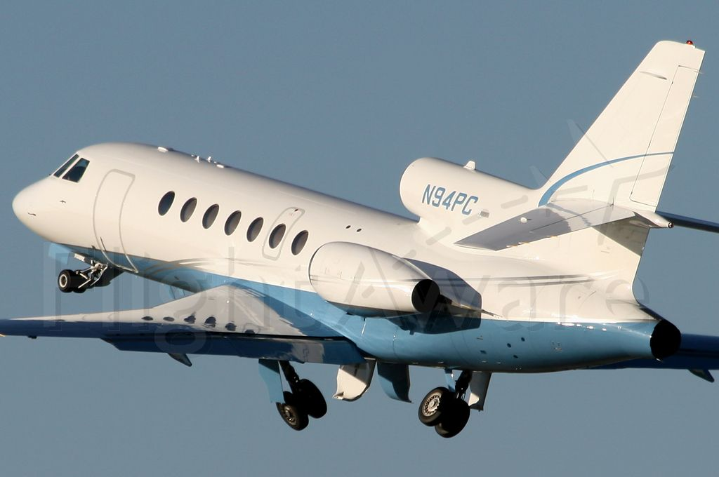 N94PC — - This lovely Falcon 50EX (cn 254) climbs from Rwy 30 at Long Beach on a gorgeous afternoon.