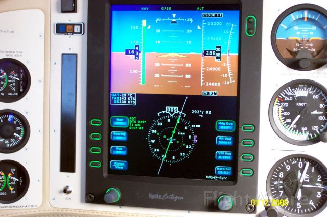 Cessna 400 (N2522F) - Documentation showing the fastest Columbia 400: 243 kts TAS while level at FL250 over Oregon, Jan 2005. Notice the 82 kts wind from 292 deg. When we turned to the right to go back to Bend, OR the GS display showed --- since it was unable to display more then 299 kts. And yes, this is a single engine plane with fixed landing gear.