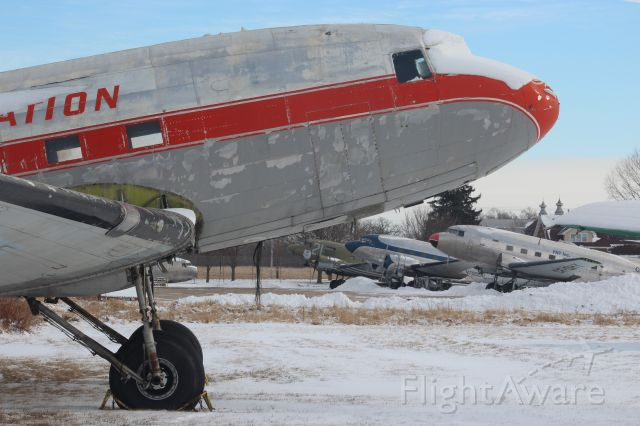 """Douglas DC-3 (C-FQHY) - Braving the cold at Basler Turbo Conversions. <br /><br />""""I hope I get to keep radials and my good looks they all say""""....."""