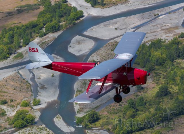 OGMA Tiger Moth (ZK-SSA) - Inflight over North Canterbury enroute to NZRT on delivery to a new owner.