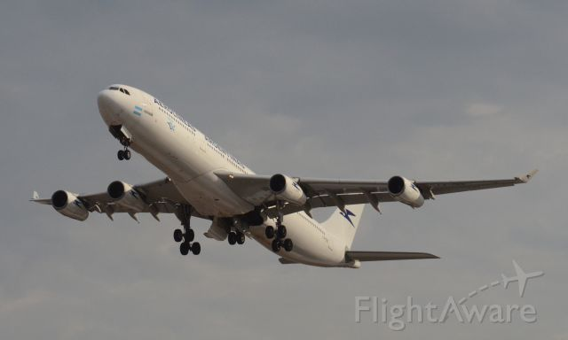 Airbus A340-300 (LV-CEK) - Imaged on 1/13/12