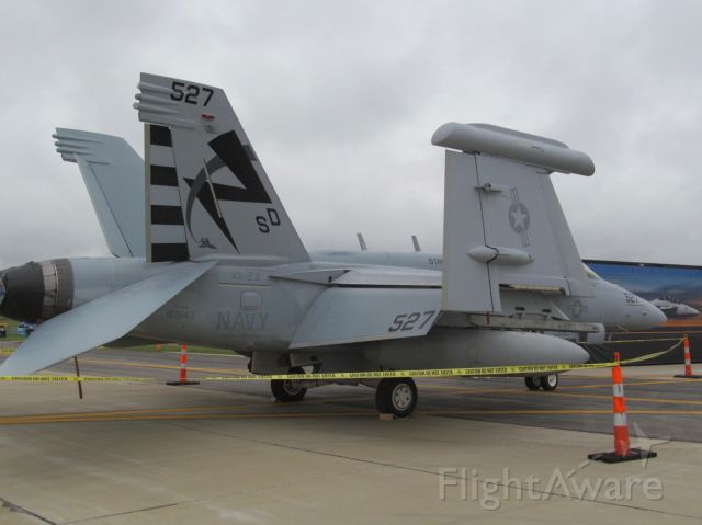 """— — - Boeing EA-18G """"Growler"""" on static display at the Spirit of St. Louis Airshow & STEM EXPO held at the Spirit of St. Louis Airport on October 13, 2018."""