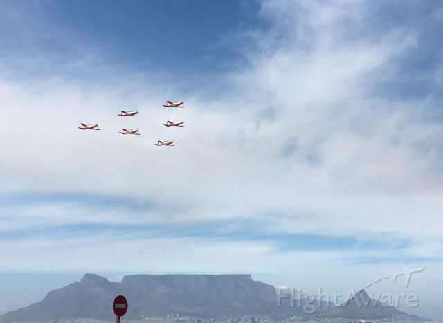 Pilatus PC-7 Astra — - Pilatus PC-7 Trainers<br />Armed Forces Day fly-past over Table Bay, Cape Town