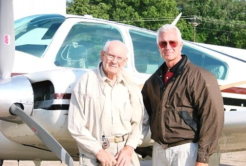 Beechcraft 55 Baron (N1832W) - Carl H. Moore (age 90) of Harrod, Ohio and son, David J. Moore (age 56 of Brentwood, TN taken in front of the hangar of N1832W in Smyrna, TN summer of 2007