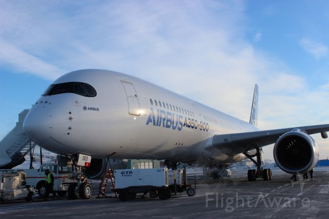 Airbus A350-900 (F-WZGG) - Aircraft needed 4 ground power units to supply enough power for the onboard test equipment.