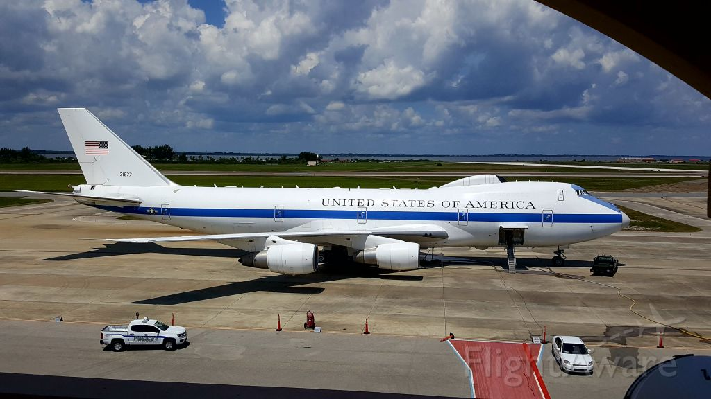 Boeing 747-200 (73-1677) - National Airborne Operations Center (NAOC) on deck at Patrick AFB.<br />Aug 2016