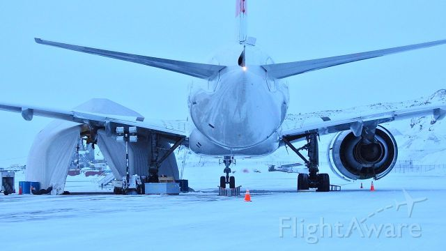 Boeing 777 — - the day the new engine gets installed on Swiss LX40 in Iqaluit Nunavut