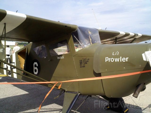 — — - This is a US Army L-6 (AKA Grasshopper / Puddle Jumper)    Manufactured 4-13-43; serial number 135 (of 250).
