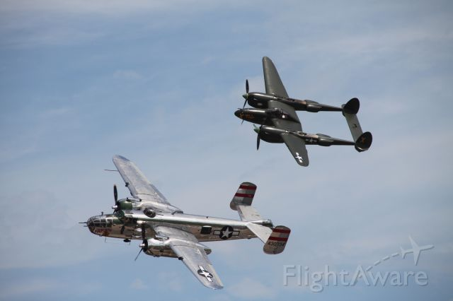 43-0734 — - B-25 and P-38 flying in formation at Duluth Airshow 2010