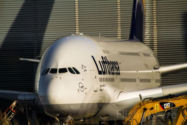 Airbus A380-800 (D-AIMC) - behind the hangar, repairing with a gangway and a CAT