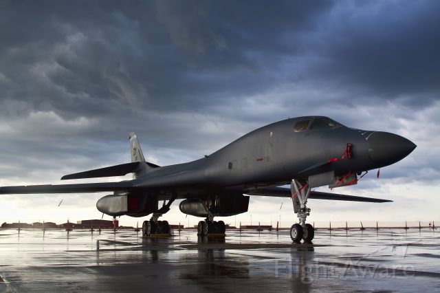 — — - A lone B1B 'Bone' sits on the ramp of McConnell AFB following a thunderstorm