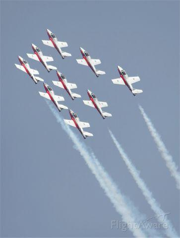 — — - Royal Canadian Air Force Snowbirds flying CT114 Tutors