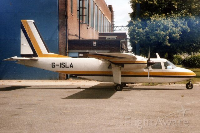 ROMAERO Islander (G-ISLA) - Seen here in Jul-97.  Transferred to Anguilla 10-Oct-06 where it became VP-AAS.