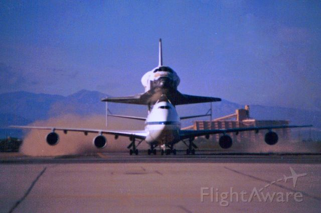 BOEING 747-100 (N905NA) - Shuttle Carrier Aircraft after landing at Davis Monthan A.F.B.  Nov. 11, 1985.  Carrying the Orbiter Challenger on what ended up being her last trip across the Country.