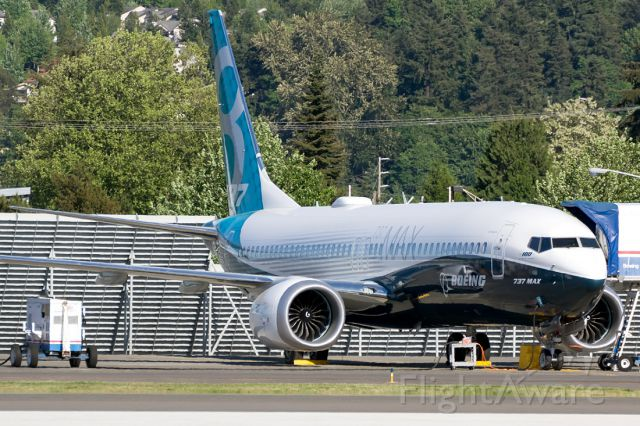 """N8704Q — - MAX #4 sitting on the RNT flight line. Note the """"100 years of Boeing"""" under the nose."""