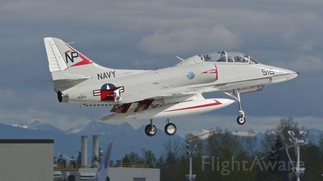 SINGAPORE TA-4 Super Skyhawk (N518TA) - A former USN McDonnell-Douglas TA-4J Skyhawk (Ser#MD 14291) on final to Rwy 16R on 3/18/15.