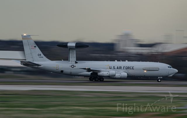 83-0009 — - A local E-3TF rotating for a night sortie after the sun came down. Taken handheld at 1/30.