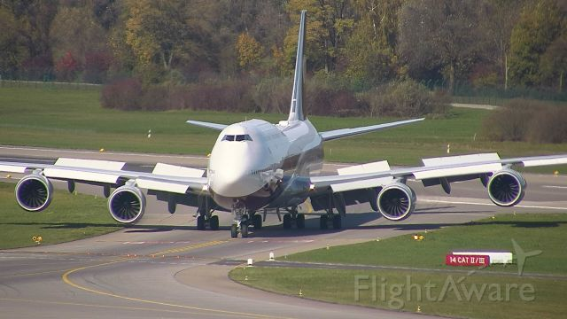 BOEING 747-8 (VQ-BSK) - Worldwide Aircraft Holding Bermuda (Private) landing from Bournemouth UK (EGHH)