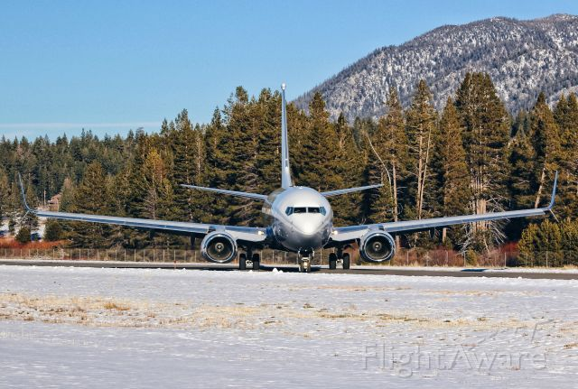 Boeing 737-700 (N1TS) - Very rare visitor making an appearance at South Lake Tahoe Airport today. It ended up doing a 180 on the runway because we were taxing out for departure and of course the Diamond Star has taxi priorities over the BBJ ;)