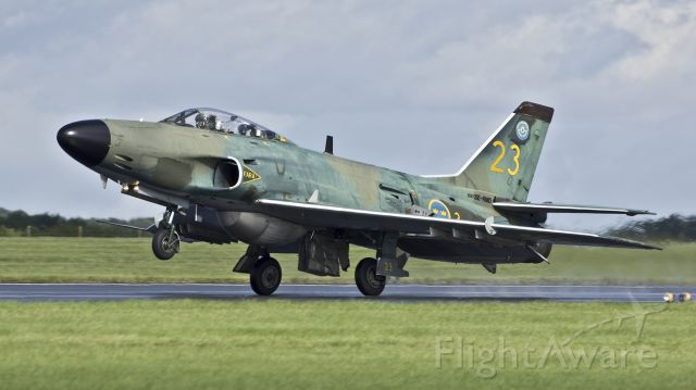 Saab Lansen (SE-RMD) - Swedish Air Force Historic Flight Saab J-32B Lansen SE-RMD arrives for the RAF Scampton Air Show - 8th September 2017