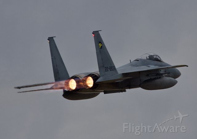 """McDonnell Douglas F-15 Eagle (22-8936) - F-15DJ of the 306th Tactical Fighter Squadron departs Hyakuri Airbase for a morning sortie. One of two 306th Eagles that were in and out of Hyakuri for a three day span, perhaps doing dissimilar training with the F-4s based at Hyakuri (please view in """"full"""" for highest image quality)"""