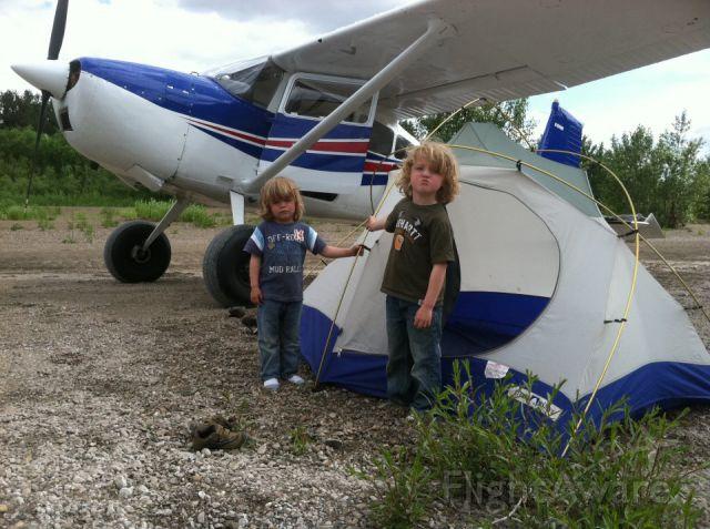 Cessna Skywagon 180 (N180WD) - On a gravel bar in the Willamette River near Dayton, OR