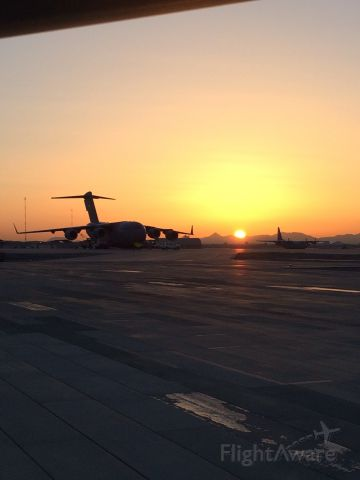 — — - Sunrise on the ramp in Afghanistan