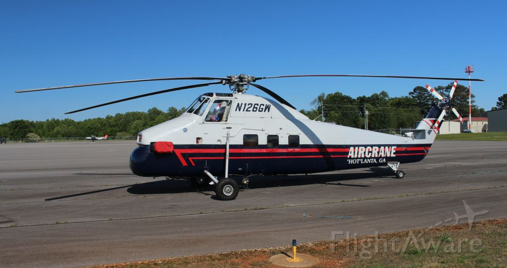 N126GW — - Aircrane Inc's 1959 model Sikorsky S-58JT on the ramp at Huntsville Executive Airport, AL - late afternoon May 11, 2020.