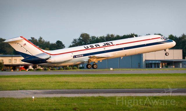 McDonnell Douglas DC-9-30 (JUS208) - Departing off HKY 24 for Charlotte/Douglas Intl. 26.Aug.2010