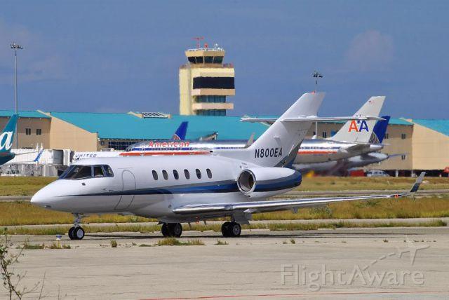 Raytheon Hawker 800 (N800EA) - Leaving general aviation ramp taxiing to rw11 at TNCA