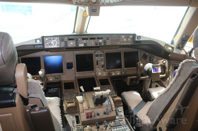 BOEING 777-300ER (A6-EBN) - a beautiful cockpit of b777-300