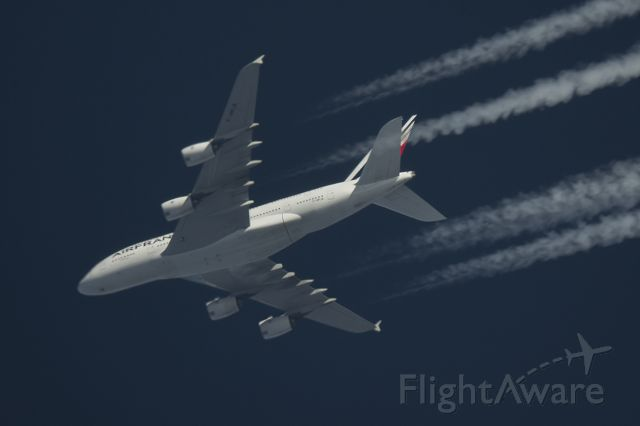 Airbus A380-800 (F-HPJA) - 9/2/2016 Air France Airbus A380 F-HPJA Passes overhead Lancashire,England, UK at 36,000ft working route CDG-LAX AFR66.br /Photo taken from the ground using telescope and Pentax K-5 DSLR.