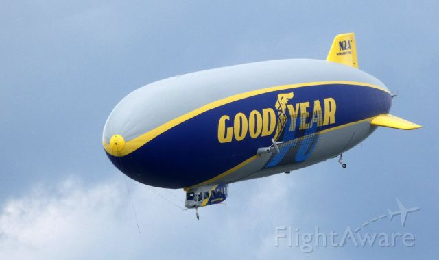 """Unknown/Generic Airship (N2A) - About to land is this 2016 Goodyear Blimp in the Summer of 2019.  """"Longfoot Two"""" services for the most part the Eastern United States."""