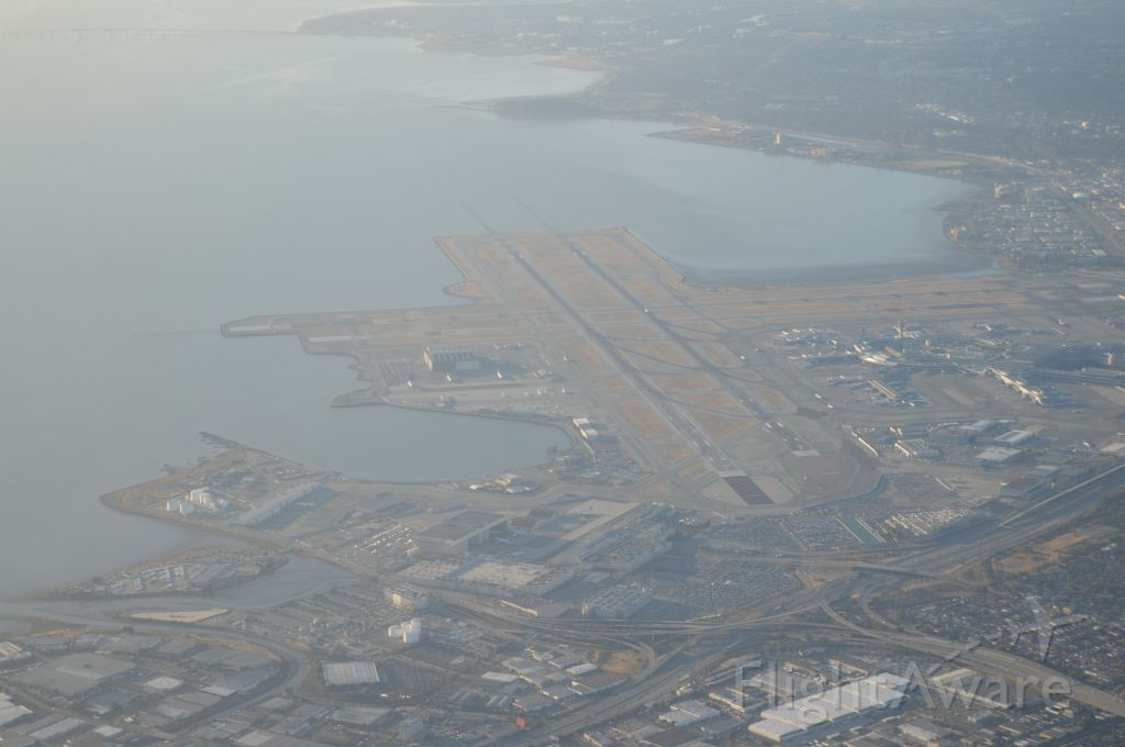 — — - View of SFO, morning takeoff to LAX