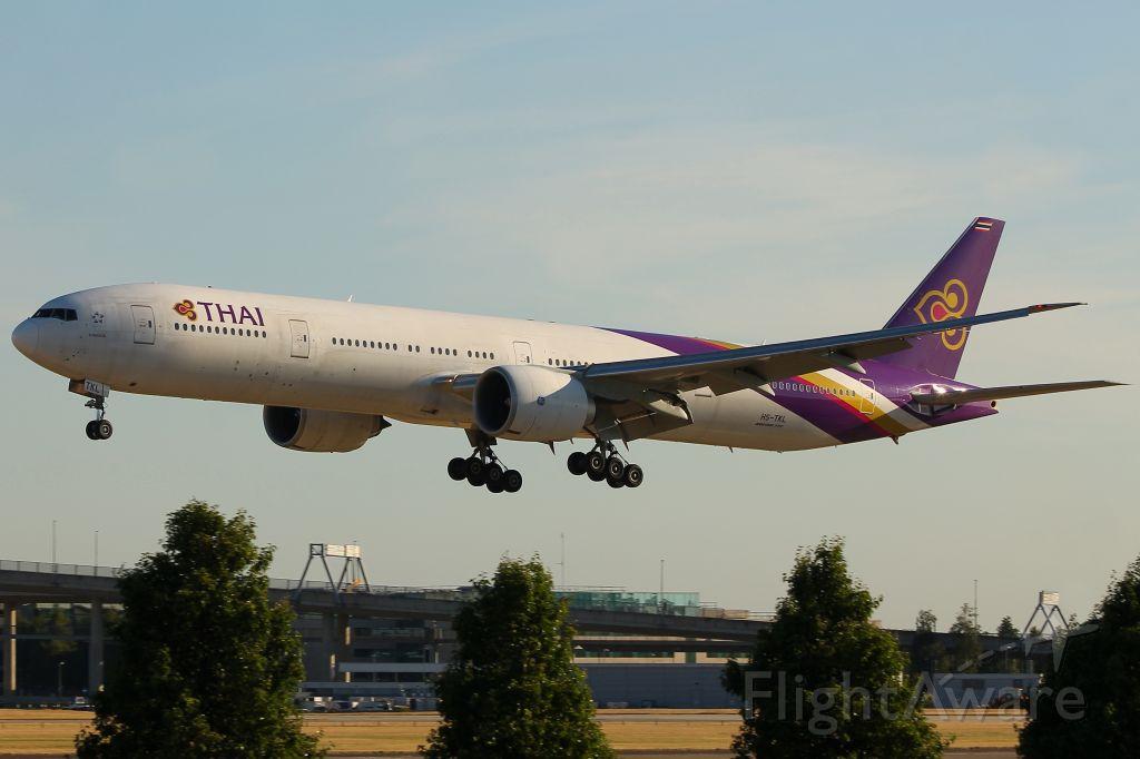 BOEING 777-300ER (HS-TKL) - Thai Airways flight TG916 from Bangkok landing on Heathrows runway 09L at 19:18 on Monday 02/07/18