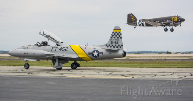 Lockheed T-33 Shooting Star (N133HH) - DC-3 N15SJ takes off over the T-33-RI Air Show 2016