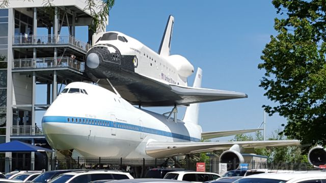Boeing 747-200 (N905NA) - New static display at Space Center Houston.
