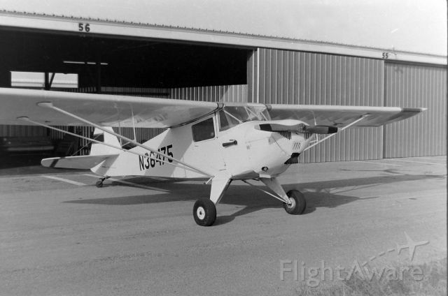 N36475 — - John Stewart's Taylorcraft BC12 after a day of flying at KGKY in the early '70s.