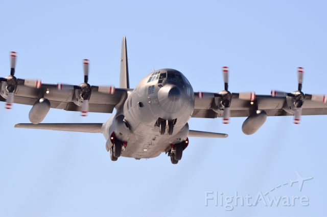 Lockheed C-130 Hercules — - On short final to pick up paratroopers during training exercise