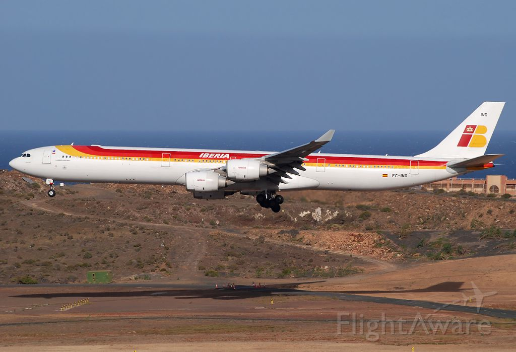 Airbus A340-600 — - Very low approach to the runway 03R.