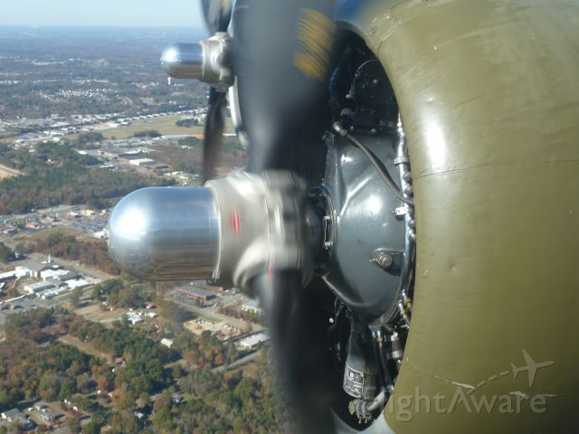 Boeing B-17 Flying Fortress (N5017N) - Flying in Aluminum Overcast 11/8/2013 over Charlotte NC area.