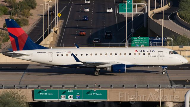 Embraer 175 (N623CZ) - Taxiing across the bridge at PHX.